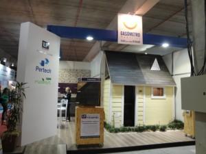 Sistema de construção seca no stand da Gasômetro Madeiras na Construvale 2010