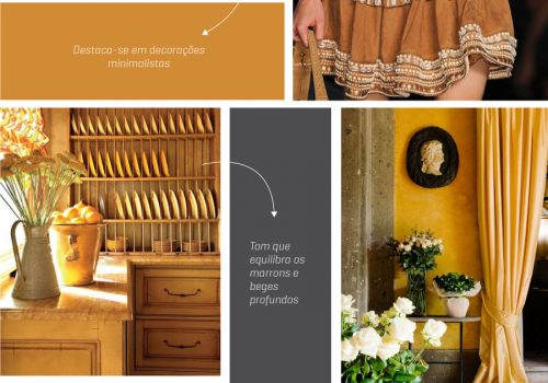 Caramelo Butterscotch:  Na sequência do sucesso de tons nudes nos acessórios e mercado de calçados, a WGSN indica uma cor mais rica que chega para equilibrar a linha entre tons marrons e beges profundos. O padrão combina bem com uma decoração minimalista – incorporando acessórios elegantes.